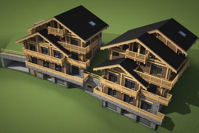Avec des vues formidables  - Superbe construction neuf a Meribel centre - chalet avec 6 chambres ensuite +logement pour le personnel, grand espace a vivre ouvert avec salle a manger, cuisine et salon, salle de télévision/massage, 2 garages et 2 abris voitures