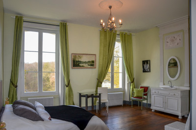 Charming château with gorgeous forest views, beautifully renovated: 16 rooms, 9 bedrooms, 4 bathrooms (3 huge/1 with gym/1 ensuite), 4 WCs. Wooded park with three entrances including 2 grand gates. Close to amenities, golf course, Poitiers Airport/TGV.