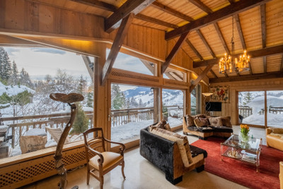 Stunning, luxury ski chalet for sale in Megeve.    Set in a secluded position between the town and the Mont d'Arbois ski area in private grounds of 3900m2.  Exclusive to the Leggett website, don't miss the 360° virtual tours and 3D floor plans.