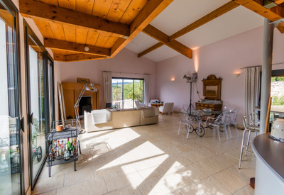 Prestigious living in this one-of-a-kind contemporary hilltop home offers a stunningly unique vantage point of the village of Lagrasse and its 8th-century Abbey