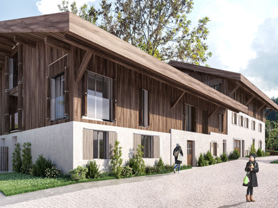 Exceptional new build 4 bedroom duplex apartment for sale in a renovated traditional farmhouse from the 18th century in the old quarter of Morzine centre